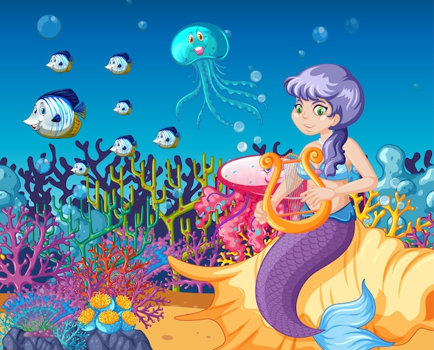 Set di animali marini e mermaid cartoon sullo sfondo del mare Vettore Premium