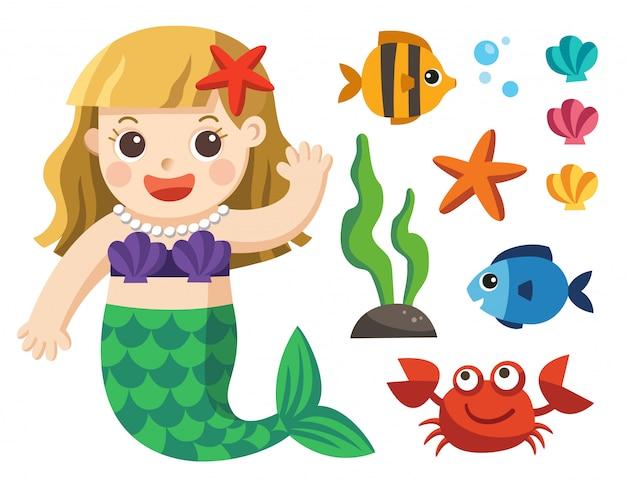 Set di collezione under the sea. sirene e animali marini su uno sfondo bianco Vettore Premium
