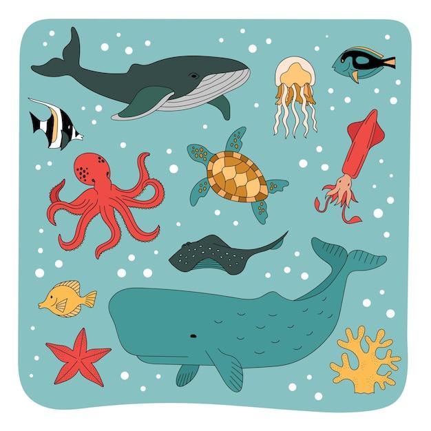 Set di abitanti del mare, animali sottomarini. il mondo sottomarino dell'oceano. Vettore Premium
