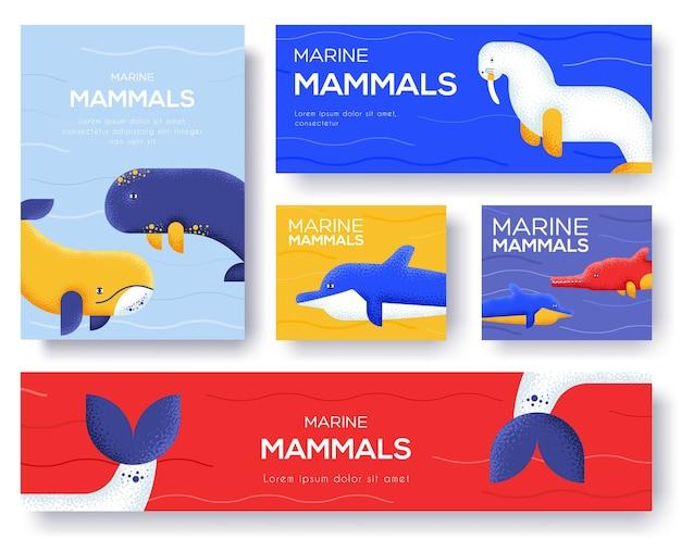 Set di banner di mammiferi marini Vettore Premium