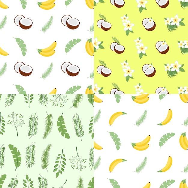 Set di modelli estivi senza soluzione di continuità. sfondi con foglie di palma, frutta, fiori e noci di cocco. illustrazione vettoriale. facile da usare per sfondo, tessuto, carta da imballaggio, poster a parete. Vettore Premium