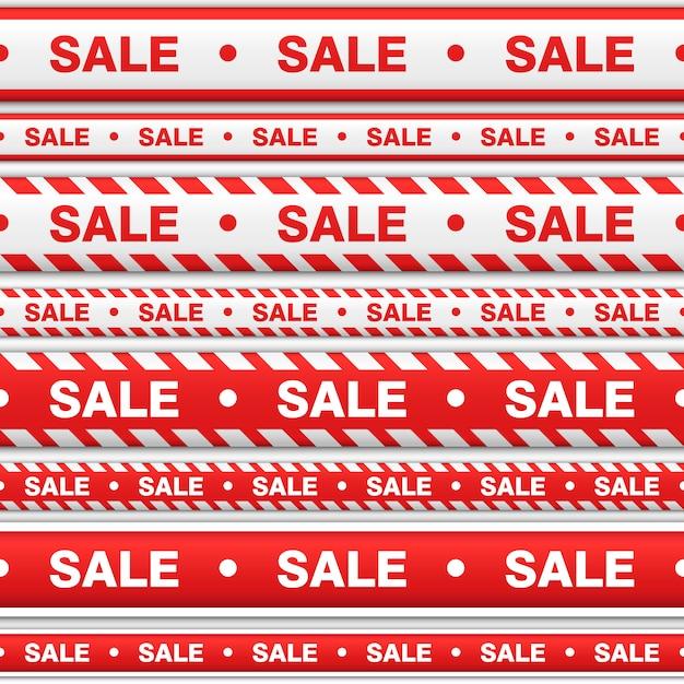 Impostare nastri senza soluzione di continuità con una vendita di iscrizione. nastri con colore rosso e bianco per indicare il luogo di vendita su uno sfondo bianco. Vettore Premium