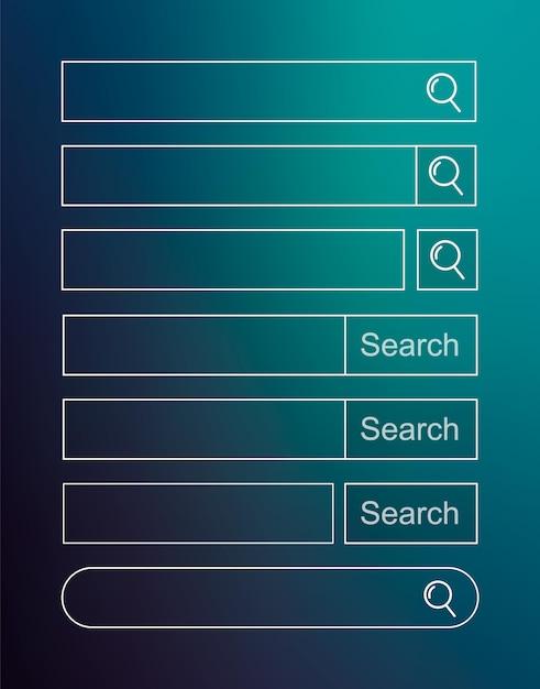Set di barra di ricerca. Vettore Premium