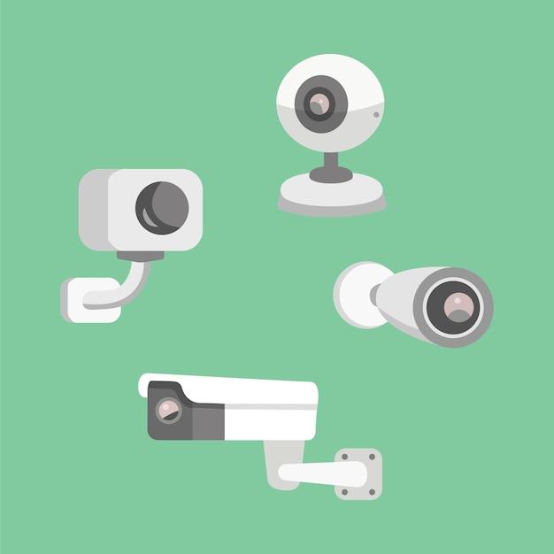 Impostare la telecamera di sicurezza. illustrazione del fumetto di cctv. sicurezza e sorveglianza. Vettore Premium