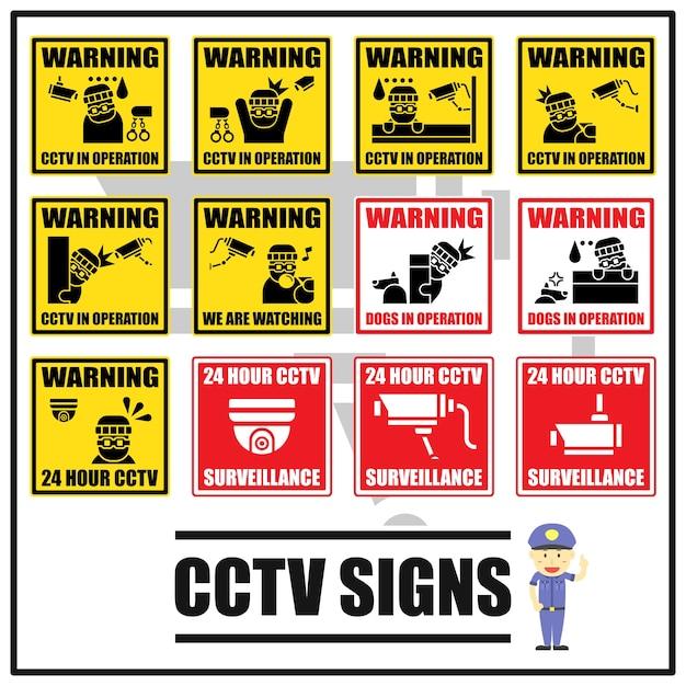 Set di segni di sicurezza e simboli di cctv Vettore Premium