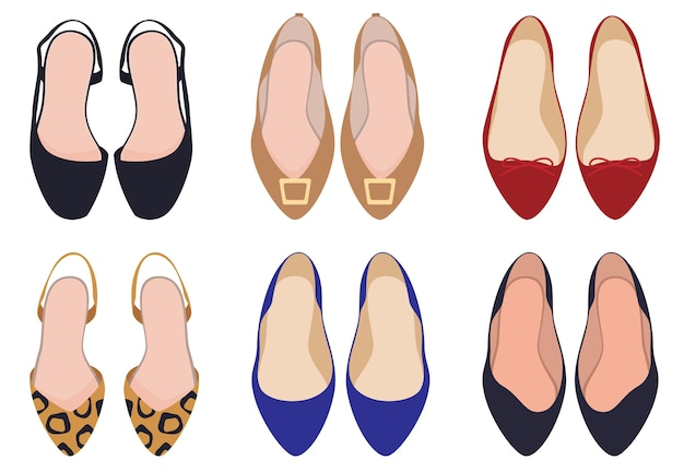 Set di scarpe. scarpe da donna, vista dall'alto. scarpe leopardate. con fibbie. Vettore Premium