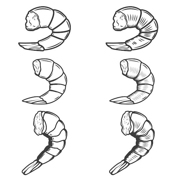 Insieme delle code di gambero su priorità bassa bianca. frutti di mare. elemento per logo, emblema, poster, menu. Vettore Premium