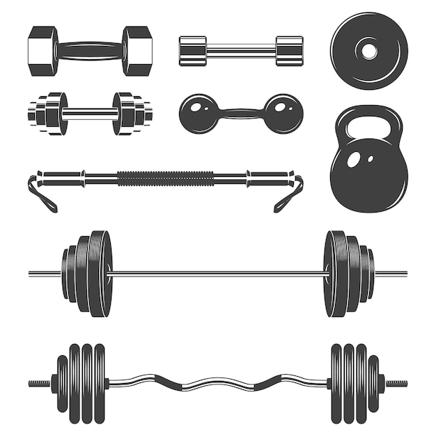 Set di pesi segno per elementi di design di fitness o palestra Vettore Premium