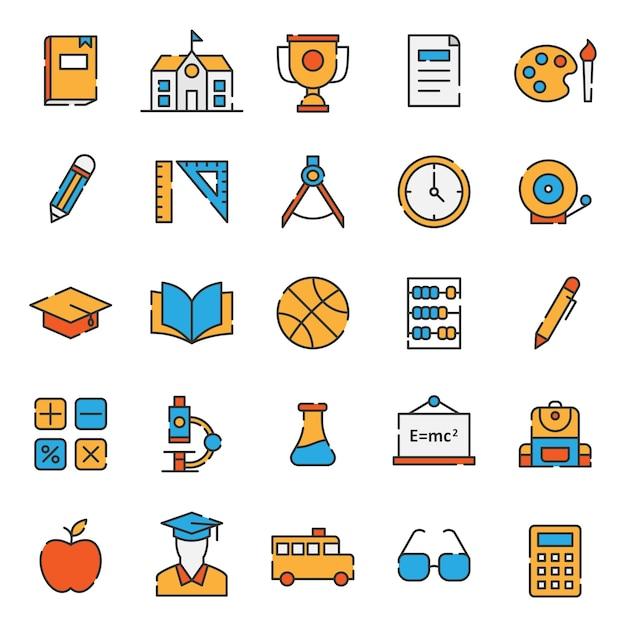 Set di semplice icona di istruzione linea riempita Vettore Premium