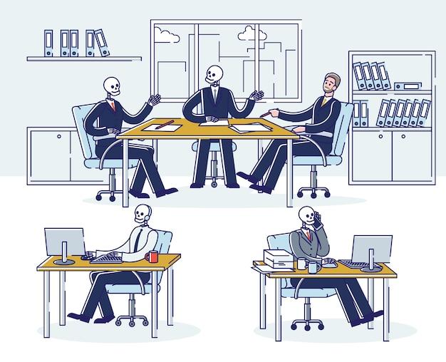 Insieme di uomini d'affari scheletro al lavoro. lavoratori di ufficio del cranio nei luoghi di lavoro. manager zombie maniaco del lavoro oberati di lavoro Vettore Premium