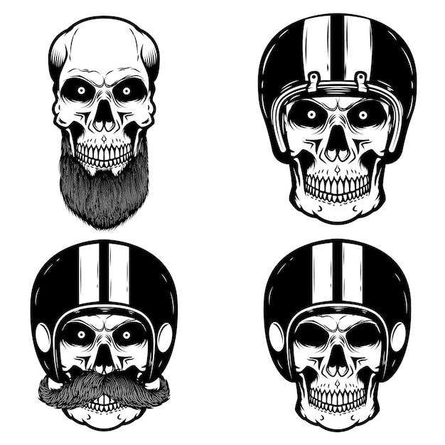 Set di teschi nel casco del motociclista. elemento per logo, etichetta, emblema, segno. illustrazione Vettore Premium
