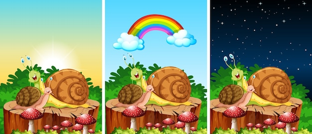 Set di lumache che vivono nelle scene del giardino in tempi diversi Vettore Premium