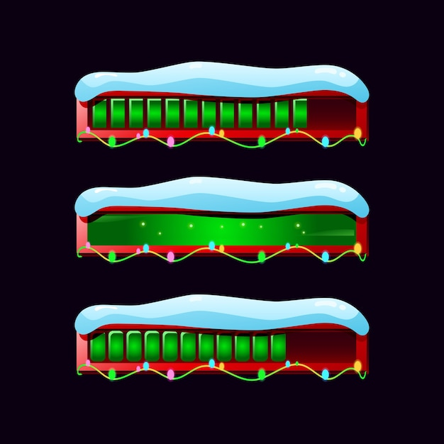 Set di barra di avanzamento gui nevoso in vari stili Vettore Premium