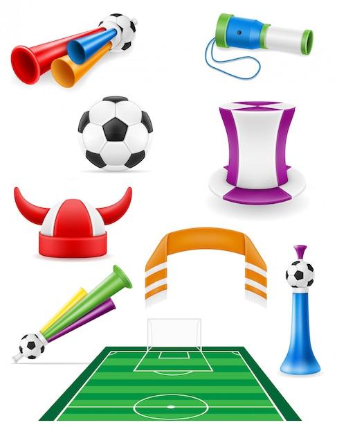 Insieme dell'illustrazione degli oggetti e degli accessori del tifoso di calcio Vettore Premium