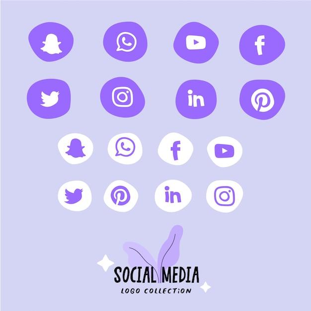 Set di icone social media, logo in forme arrotondate astratte. icone piatte. Vettore Premium