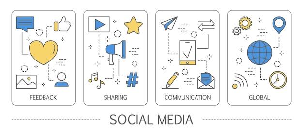 Set di banner verticali di social media Vettore Premium