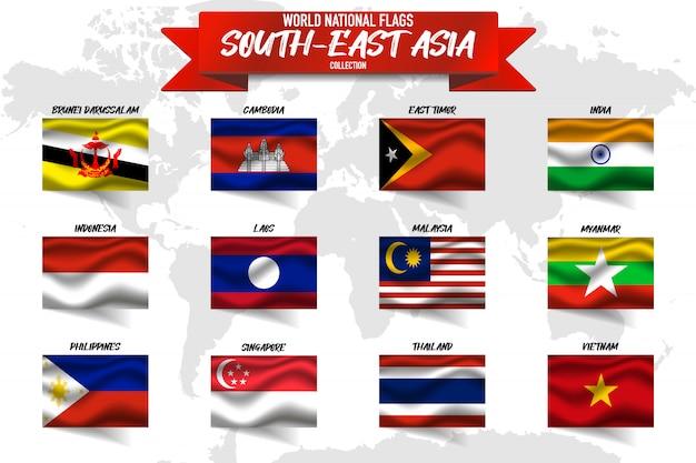 Insieme della bandiera nazionale del paese del sud-est asiatico sul fondo della mappa di mondo. Vettore Premium