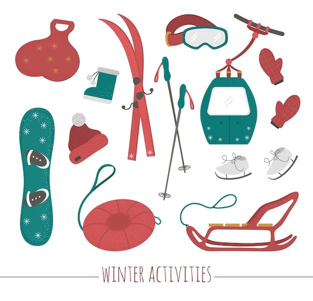Set di attrezzature sportive per attività sportive invernali. illustrazione di sci, tubo, slitta, pattini, snowboard, vestiti. Vettore Premium