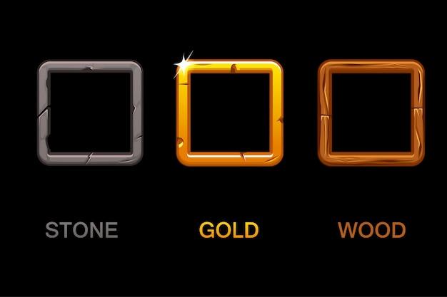 Set di icone di app quadrate, cornici di texture isolati su sfondo nero, elementi per il gioco dell'interfaccia utente o il web design Vettore Premium