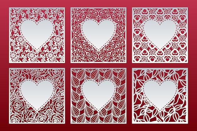 Set di modelli di pannelli quadrati con motivo e cuore all'interno, design di carte di san valentino. Vettore Premium