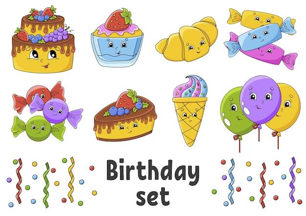 Set di adesivi con simpatici personaggi dei cartoni animati. tema di buon compleanno. Vettore Premium
