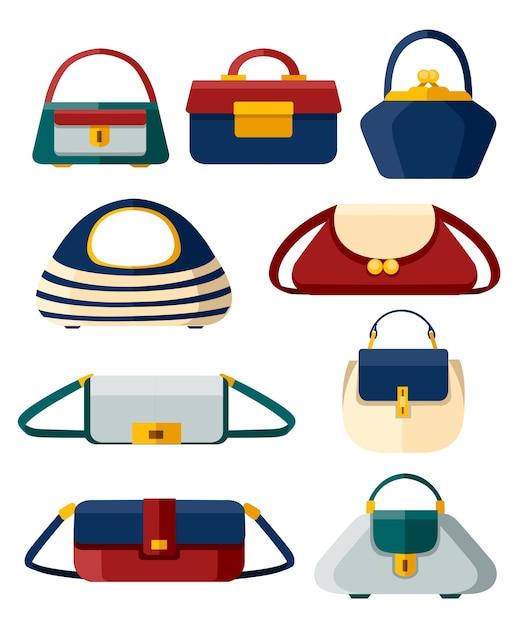 Set di borse da donna alla moda. collezione di borse di diverse forme. . illustrazione su sfondo bianco. pagina del sito web e app per dispositivi mobili. Vettore Premium