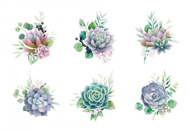 Set di mazzi di fiori succulenti e verde per invito a nozze o cartolina d'auguri. Vettore Premium
