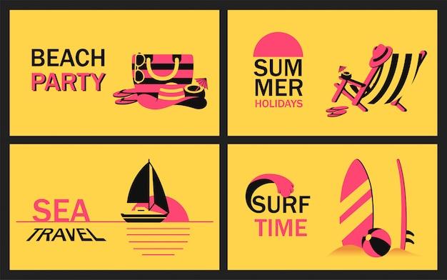 Impostare banner estate con accessorio da spiaggia, sdraio, barca a vela nell'oceano al tramonto e tavola da surf in sabbia in stile semplificato. manifesto moderno di vettore per la festa in spiaggia Vettore Premium