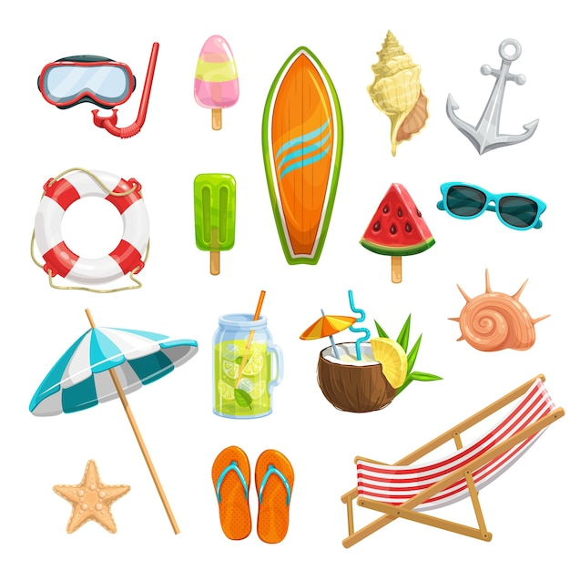 Impostare le icone estive. maschera per immersioni, anguria, tavola da surf, conchiglie, stelle marine, ombrellone, infradito, succo congelato, limonata, salvagente e ancora. sedia a sdraio e cocktail pina colada Vettore Premium