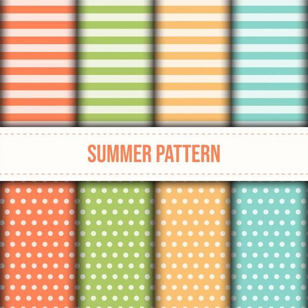 Set di strisce di colore pastello estivo e motivo a punti. Vettore Premium