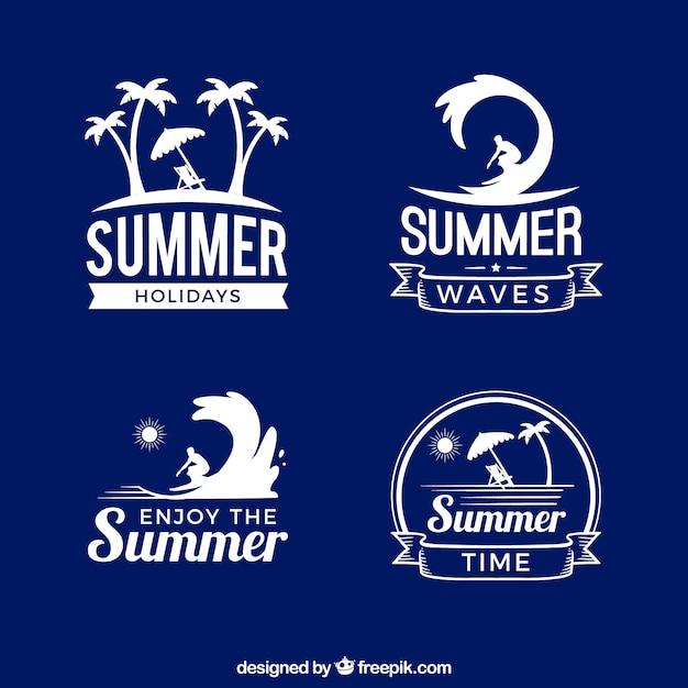 Set di adesivi estivi in stile retrò Vettore Premium