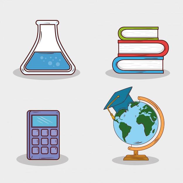 Set di istruzione forniture su sfondo bianco Vettore Premium
