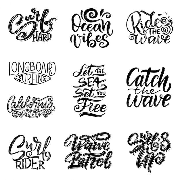 Set di citazioni scritte surf per poster, stampe, carte. progettazione tessile relativa al surf. illustrazione d'epoca Vettore Premium