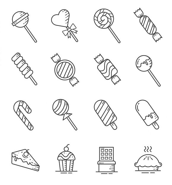 Set di icone di dolci e caramelle con struttura di stile Vettore Premium