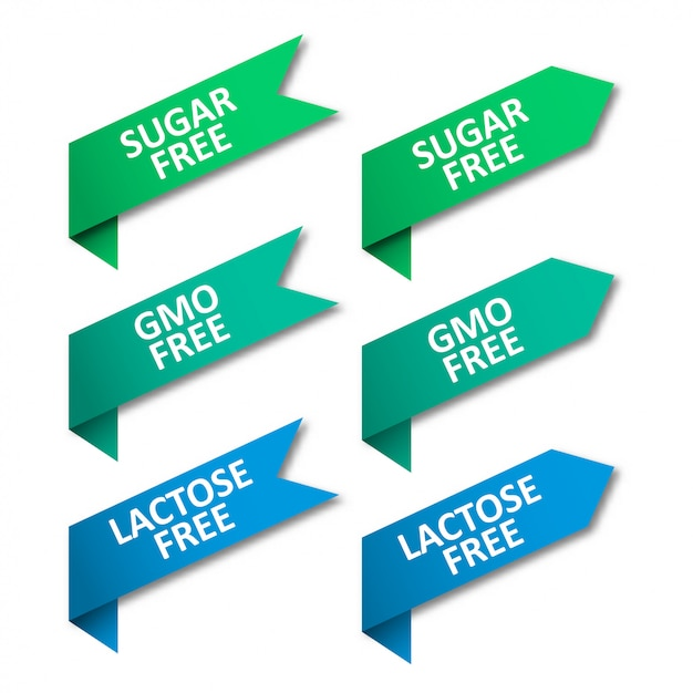 Set di nastri tag. senza zucchero, senza ogm, senza lattosio Vettore Premium