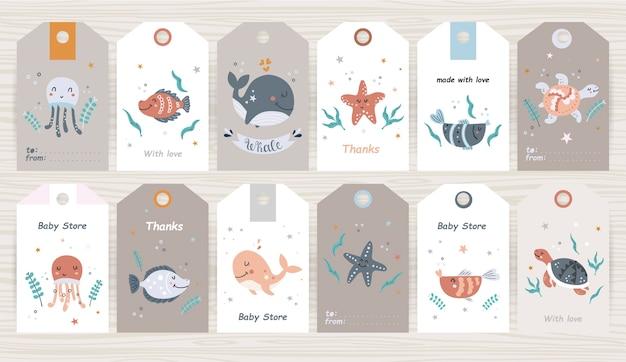 Set di tag con animali marini per ragazza e ragazzo. perfetto per baby shop, packaging del prodotto Vettore Premium