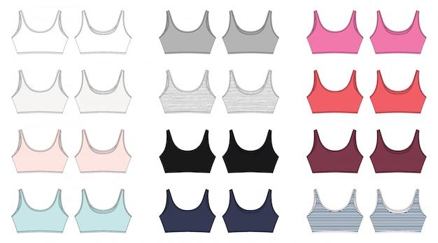 Set di schizzo tecnico del reggiseno per ragazze isolate. design intimo yoga. Vettore Premium
