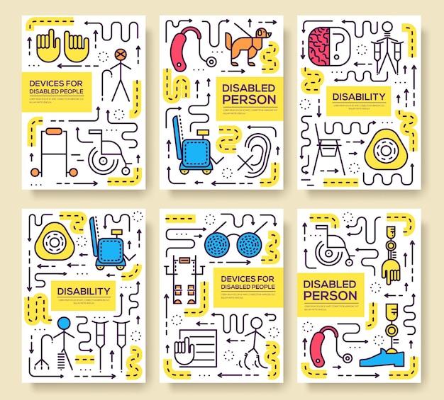 Set di modello di persone cura linea sottile. arte disabile, rivista, libro, poster, astratto, banner, elemento. Vettore Premium
