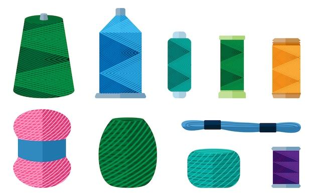 Impostare thread per cucito su sfondo bianco. kit per filato matassa fatto a mano, fili della bobina in stile piatto illustrazione. Vettore Premium