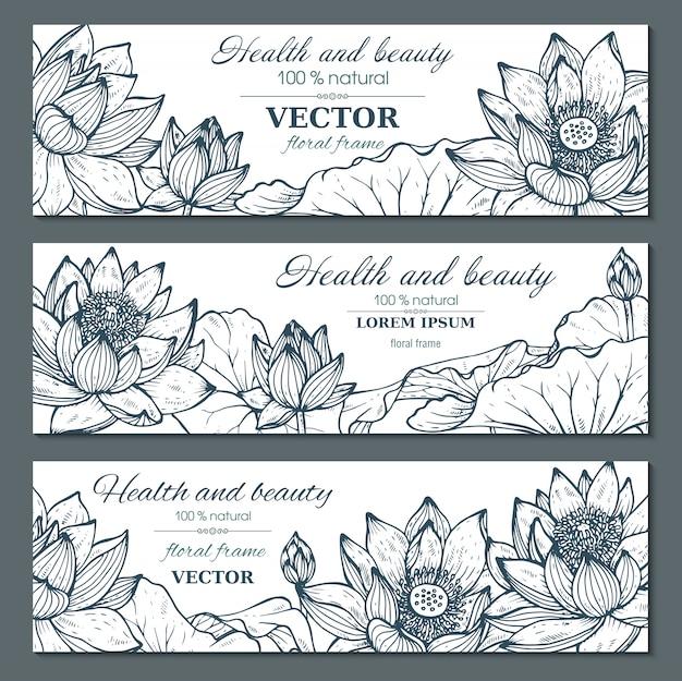 Set di tre bandiere orizzontali con bellissimi fiori di loto e Vettore Premium