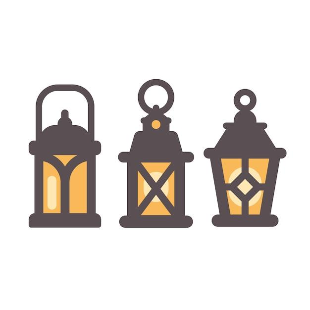 Un insieme di tre icone piane di vecchie lanterne rustiche Vettore Premium
