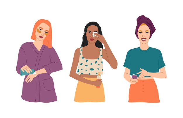 Set di tre giovani ragazze si prendono cura della loro pelle, applicano cosmetici per il viso, spalma le mani con crema, ragazza felice con un asciugamano in testa, routine quotidiana. Vettore Premium