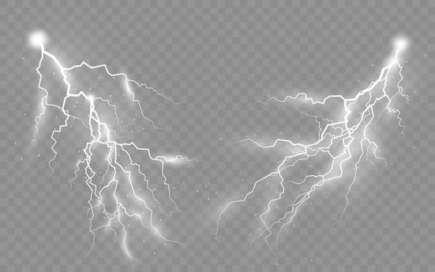 Insieme di temporali e fulmini Vettore Premium
