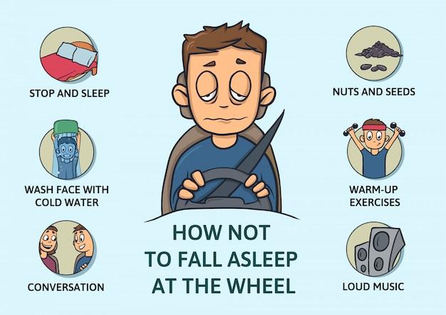 Set di suggerimenti per rimanere sveglio durante la guida. privazione del sonno. come non addormentarsi al volante. illustrazione su sfondo blu. stile cartone animato. infogrphics. Vettore Premium