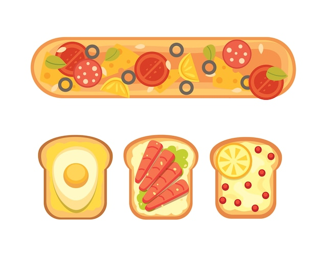 Set toast e colazione a sandwich. pane tostato con marmellata, uova, formaggio, mirtilli, burro di arachidi, salame e pesce. illustrazione. Vettore Premium