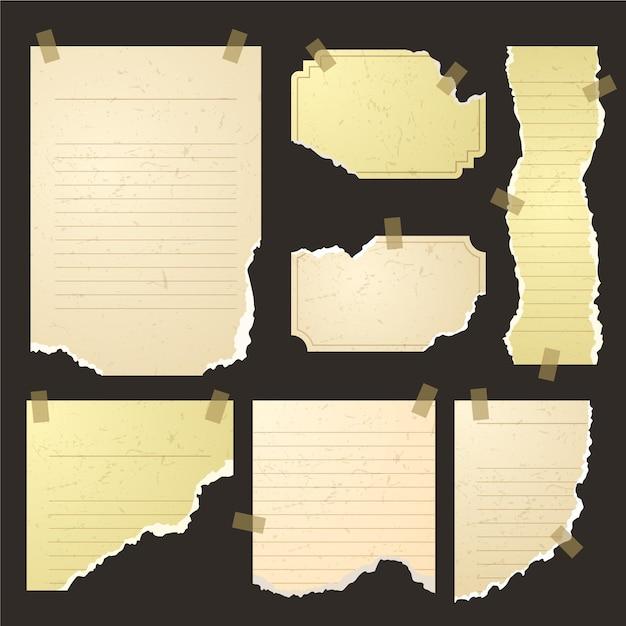 Set di carta strappata in diverse forme con nastro adesivo Vettore Premium