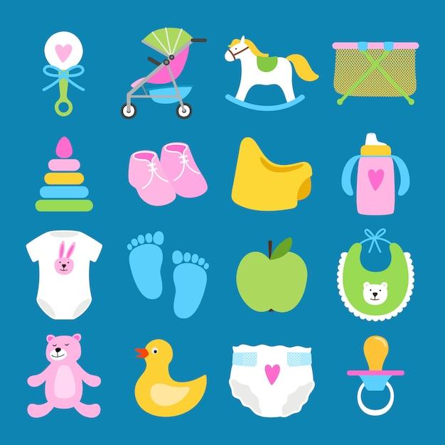 Set di giocattoli, vestiti e pannolini Vettore Premium