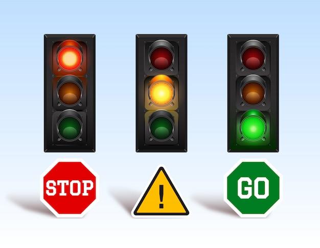 Set di semaforo con bordo di istruzioni Vettore Premium