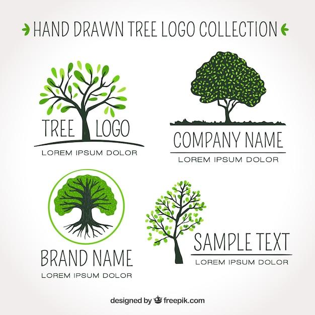 Set di loghi dell'albero in mano stile disegnato Vettore Premium