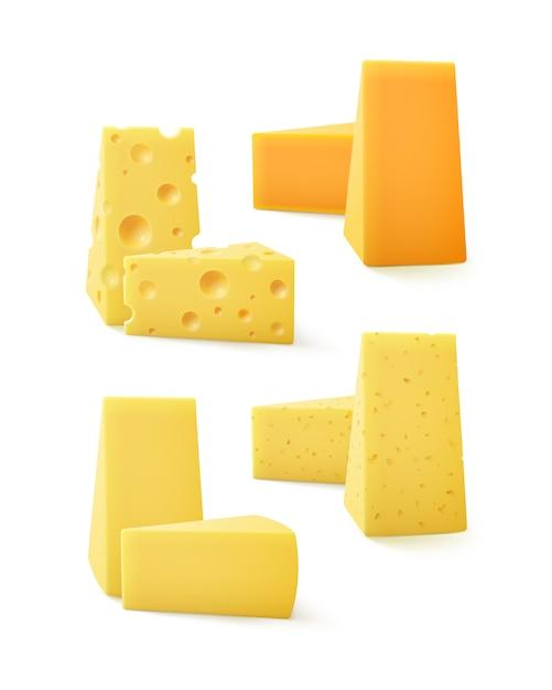 Set di pezzi triangolari di formaggio svizzero cheddar close up isolati su sfondo bianco Vettore Premium